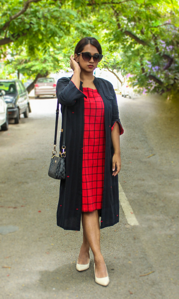 Eclectic Dress Red Buta with black & red checks