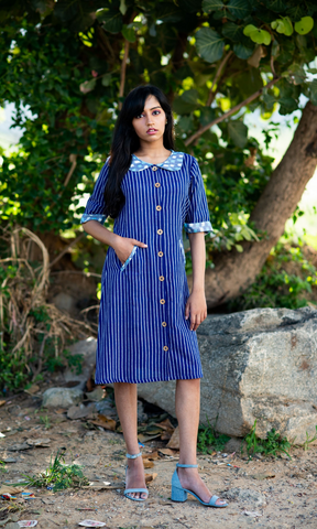 Blue Pinstripe Peter Pan Collar Dress