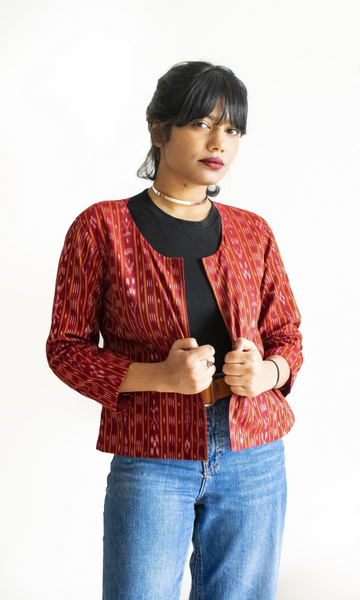 Red Ikat Short Jacket
