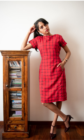 Scarlet Red Black Checks Sheath Dress