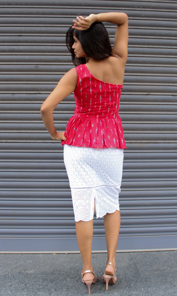 Red Ikat Peplum One Shoulder Top