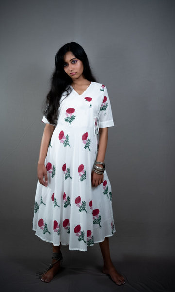 Long Anarkali Handblock Print Dress