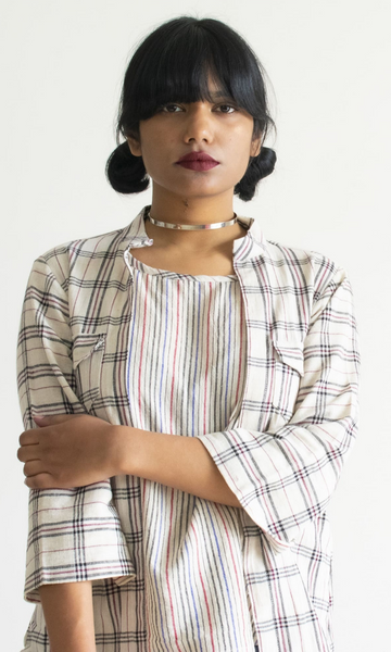 Eclectic Shirt with Kotpad Checks and Stripes