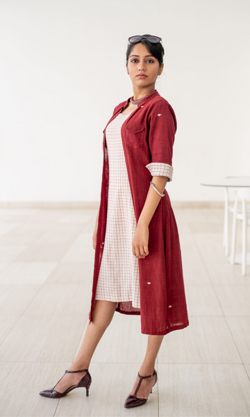 Eclectic Dress Ivory buta with maroon checks