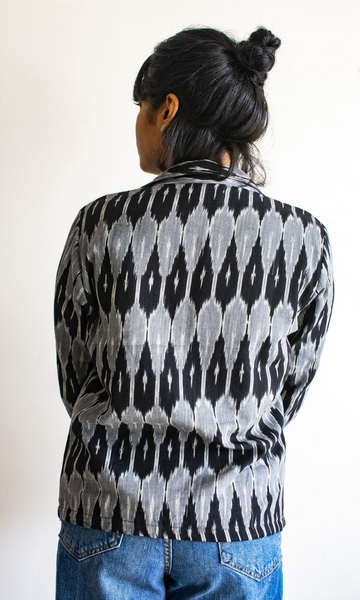 Grey Black Short Ikat Jacket