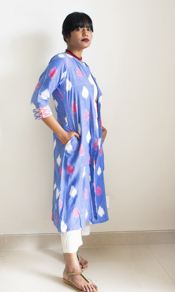 Sky Blue Ikat Shirt dress Overlay