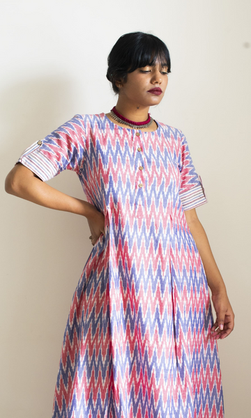 Liza Inverted Pleat Ikat Long Dress