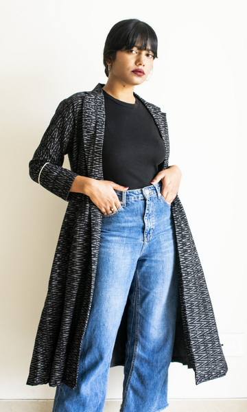 Long Black Ikat Jacket