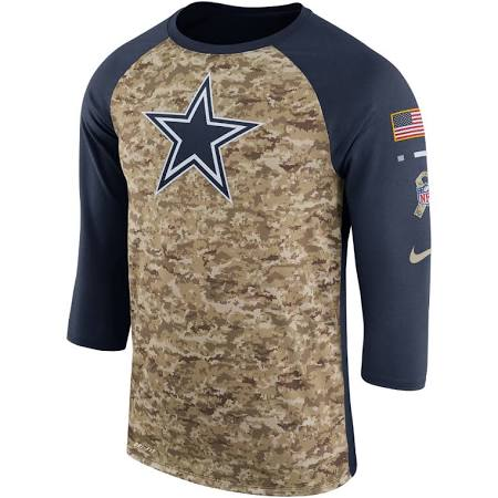 sneakers for cheap 940e0 05e26 Dallas Cowboys Men's Nike Navy Salute to Service Legend Three-Quarter  Sleeve T-Shirt