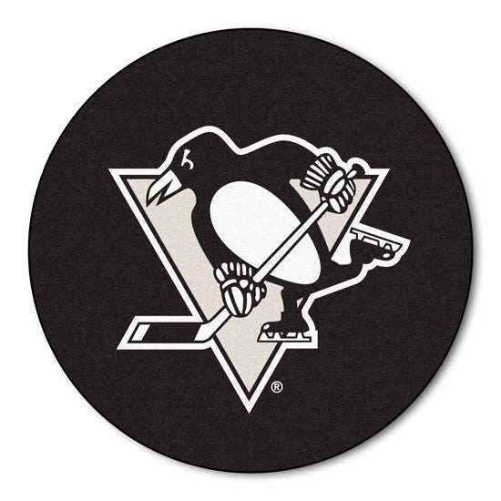 Pittsburgh Penguins puck shaped floor mat - Sports Nut Emporium