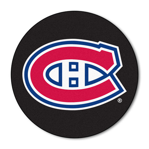 Montreal Canadiens puck shaped floor mat - Sports Nut Emporium