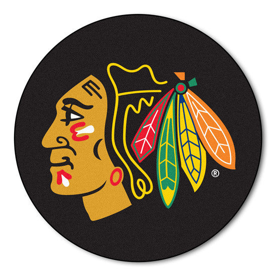 Chicago BlackHawks puck shaped floor mat - Sports Nut Emporium