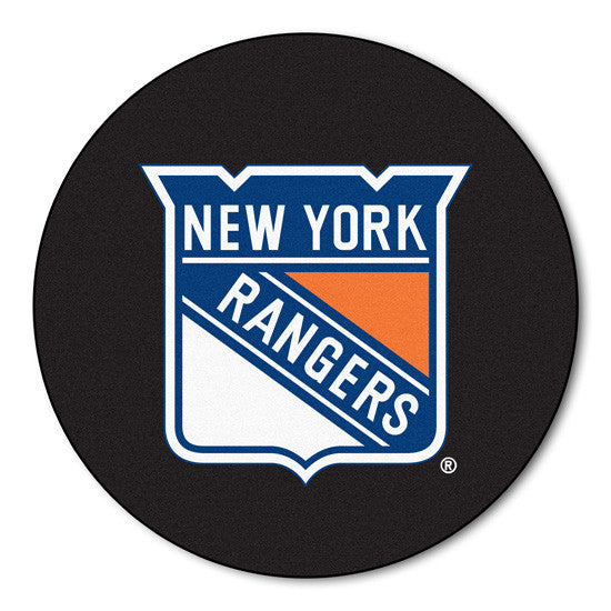 New York Rangers puck shaped floor mat - Sports Nut Emporium