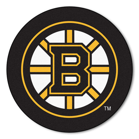 Boston Bruins puck shaped  floor mat - Sports Nut Emporium