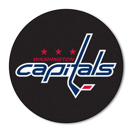 Washington  Capitals puck shaped floor mat - Sports Nut Emporium