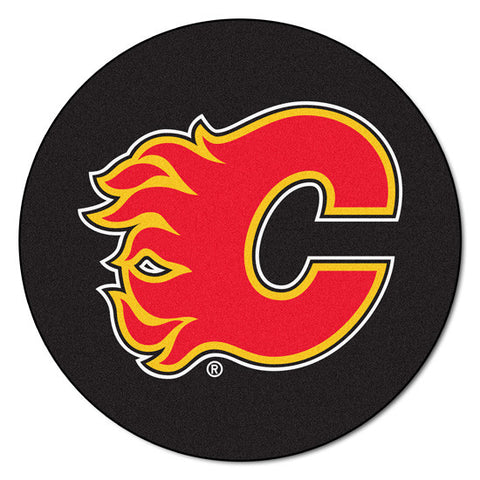Calgary Flames puck shaped floor mat - Sports Nut Emporium