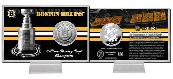 "Boston Bruins Stanley Cup ""History"" Silver Coin Card - Sports Nut Emporium"