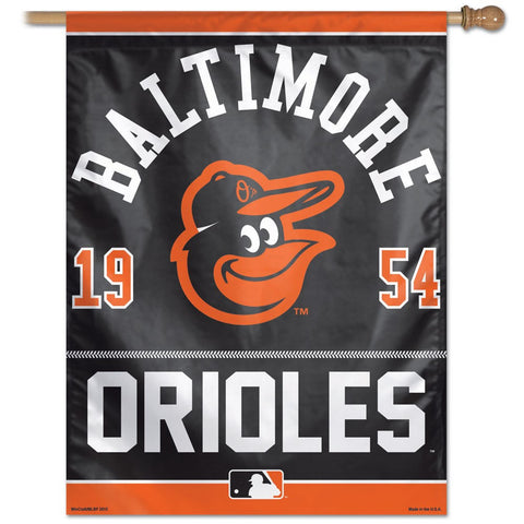 Baltimore Orioles year of Inception vertical Flag - Sports Nut Emporium