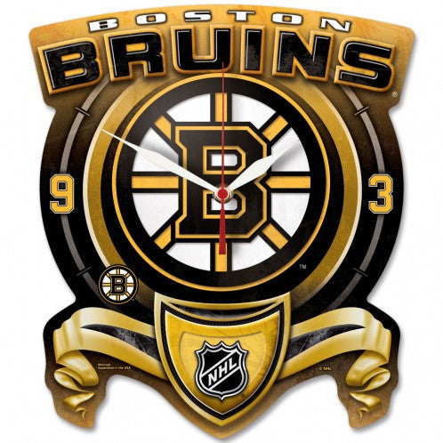 Boston Bruins High Def. Plaque style wall Clock - Sports Nut Emporium