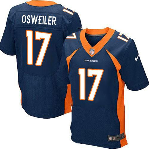 Brock Osweiler Navy Blue Denver Broncos Men's Stitched NFL Elite Jersey - Sports Nut Emporium