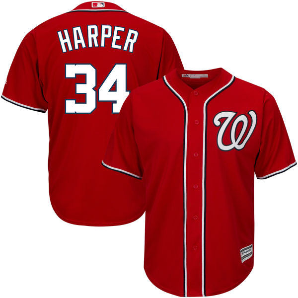 Bryce Harper Men's Washington Nationals Majestic Red Alternate  Cool Base Player Jersey - Sports Nut Emporium
