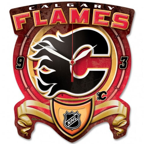 Calgary Flames High Def. Plaque style wall clock - Sports Nut Emporium
