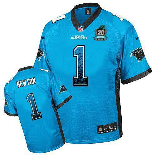 Cam Newton Blue Alternate With 20TH Season Patch Men's ...