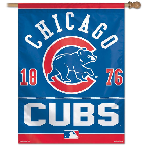 Chicago Cubs Year of Team Inception vertical Flag - Sports Nut Emporium