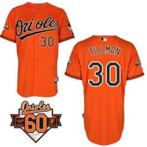 Chris Tillman Baltimore Orioles # 30  1954-2014 60th Anniversary Orange  Cool Base Stitched MLB Jersey - Sports Nut Emporium