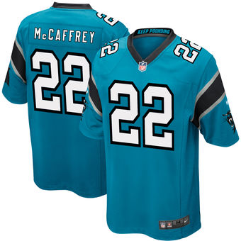 Christian McCaffrey Men's Carolina Panthers Nike Blue 2017 Draft Pick Game Jersey - Sports Nut Emporium