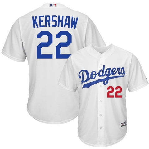 Clayton Kershaw MLB Dodgers #22 Stitched White MLB Jersey - Sports Nut Emporium
