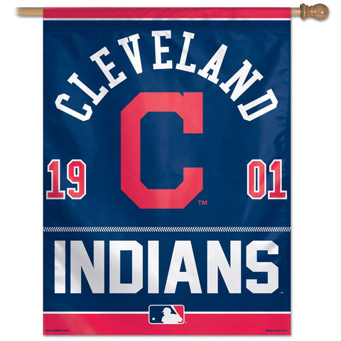 Cleveland Indians Year Of Inception Vertical Flag - Sports Nut Emporium