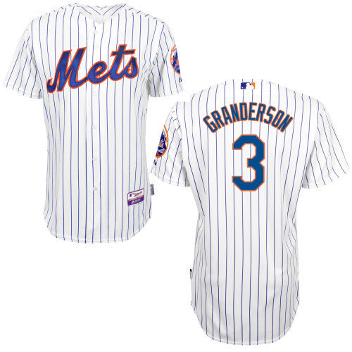 Curtis Granderson New York Mets #3 White(Blue Stripe) Home Cool Base Stitched MLB Jersey - Sports Nut Emporium