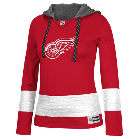 Detroit Red Wings Reebok Women's Jersey Pullover Hoodie - Red - Sports Nut Emporium