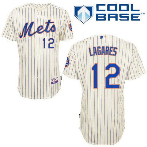 Juan Lagares #12 New York Mets  White (Blue Strip) Home Cool Base Stitched MLB Jersey - Sports Nut Emporium