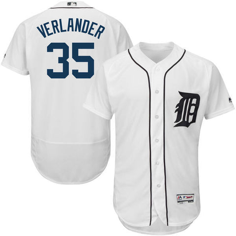 Justin Verlander  Detroit Tigers men's Majestic Home White Flex Base  Collection Player Jersey - Sports Nut Emporium