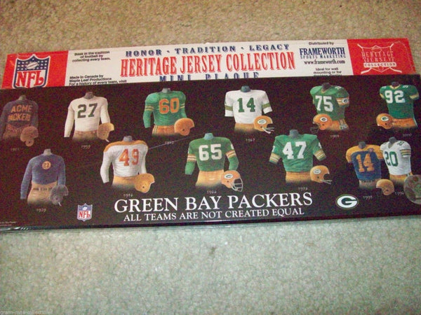 Green Bay Packers Heritage Jersey Collection plaque - Sports Nut Emporium