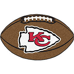 Kansas City Chiefs football shaped rug - Sports Nut Emporium