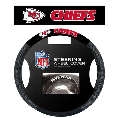 Kansas City Chiefs Poly Suede Steering Wheel Cover - Sports Nut Emporium