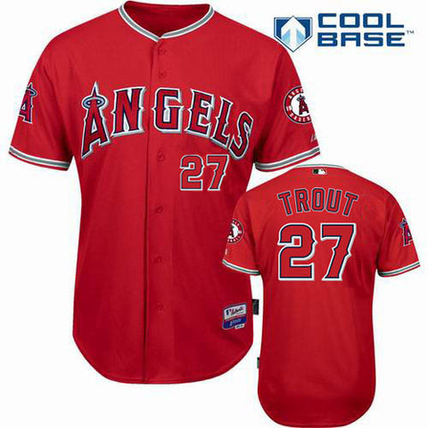 Los Angeles  Angels  Mike Trout Red Cool Base Stitched Baseball Jersey - Sports Nut Emporium