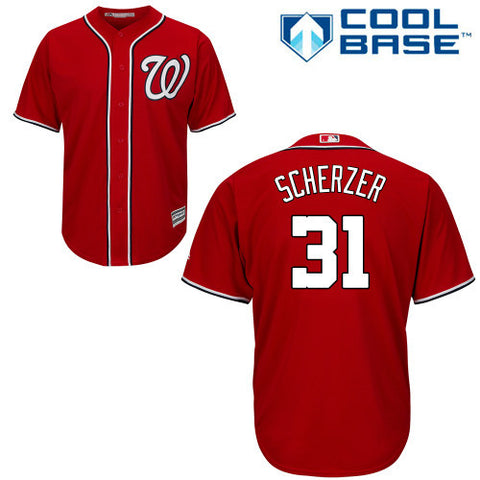 Max Scherzer Red New Cool Base Stitched Baseball Jersey - Sports Nut Emporium