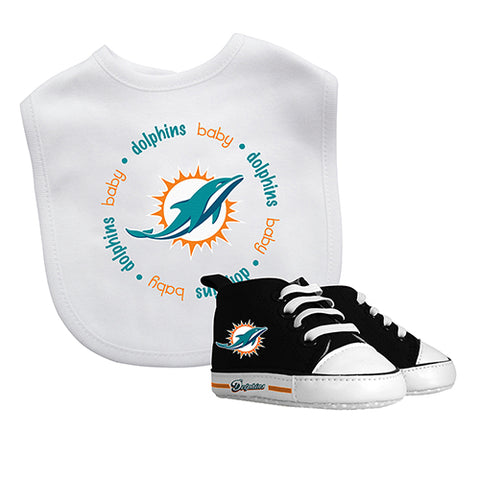 Miami Dolphins High top Pre Walkers  and Bib Set - Sports Nut Emporium