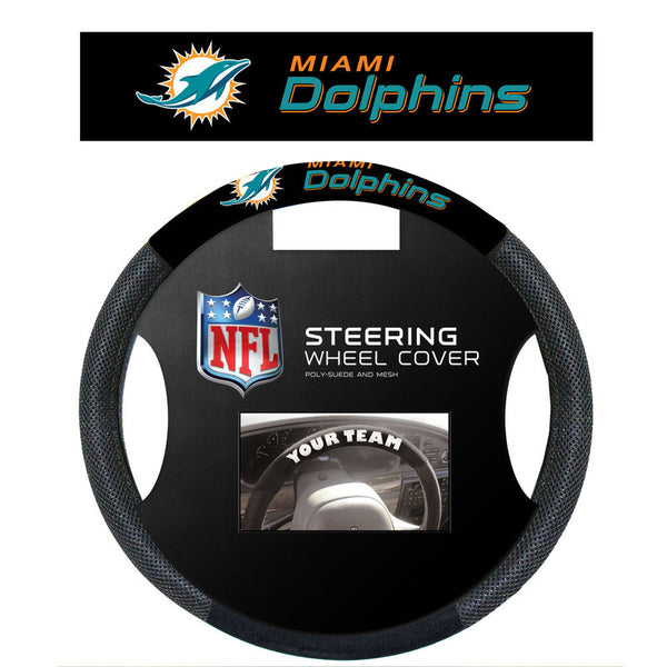 Miami Dolphins Poly Suede Steering Wheel Cover - Sports Nut Emporium