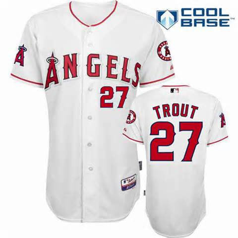 Mike Trout White Cool Base Los Angeles Angels Mens  jersey - Sports Nut Emporium