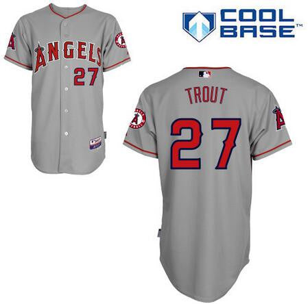 Mike Trout Los Angeles Angels Grey Cool Base Jersey - Sports Nut Emporium