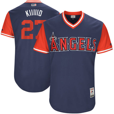 "Los Angeles Angels  men's Mike Trout ""Kiiiiid"" Majestic Navy 2017 Players Weekend Jersey - Sports Nut Emporium"