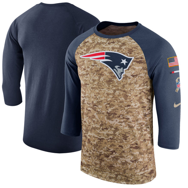 New England Patriots  three quater sleeve salute to service tee shirt - Sports Nut Emporium