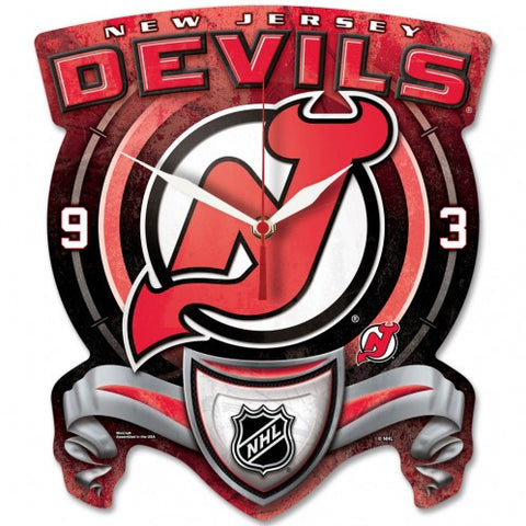 New Jersey Devils High Def. Plaque Style wall Clock - Sports Nut Emporium