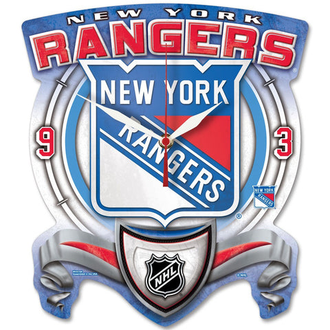 New York Rangers High Def. Plaque Style wall Clock - Sports Nut Emporium