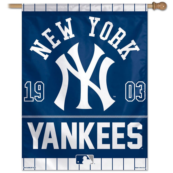 new York Yankees year of Inception vertical Flag - Sports Nut Emporium